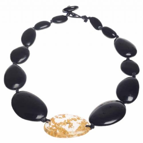 A Jackie Brazil Long Flat Riverstone Necklace in Black Gloss and Gold Flake